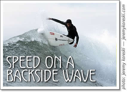 tofino surfing - speed on a backside wave