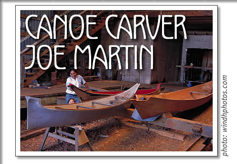 Joe Martin carving canoes in Opitsaht near Tofino